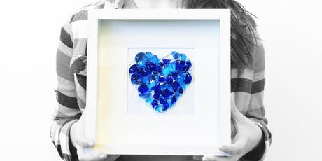 Heart in Art Glass, you create the heart and we frame it for you, beginners welcome. tickets