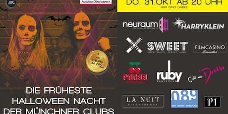 Die früheste Halloween-Nacht der Münchner Clubs. Mit diesem VVK-Ticket bitte im Neuraum, Ruby Club oder Sweet einchecken Tickets