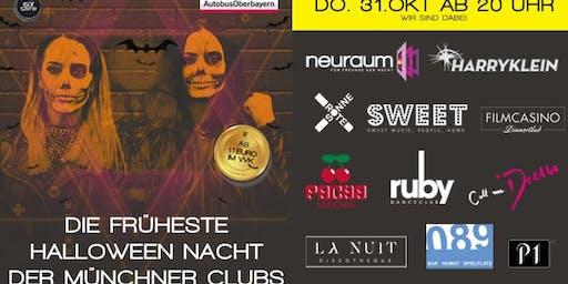 Die früheste Halloween-Nacht der Münchner Clubs. Mit diesem VVK-Ticket bitte im Neuraum, Ruby Club oder Sweet einchecken