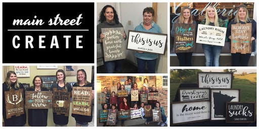 Main Street Create | Farmhouse/Pallet Sign Class | October 12 - 6pm