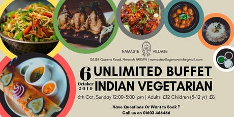 6th October 2019   Unlimited Buffet  Lunch   Norwich   Indian Vegetarian tickets