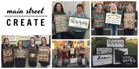 Main Street Create | Farmhouse/Pallet Sign Class | October 18 - 6pm tickets