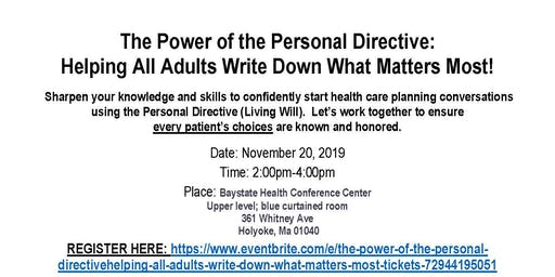 The Power of the Personal Directive:Helping All Adults Write Down What Matters Most!