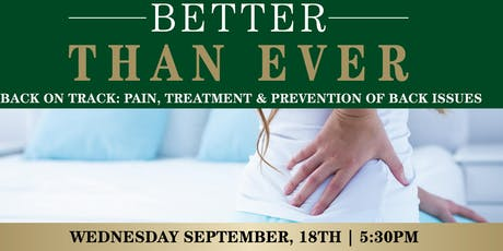 Back on Track: Pain, Treatment & Prevention of Back Issues tickets