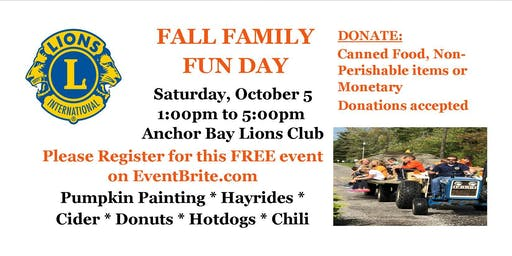 ANCHOR BAY LIONS CLUB FALL FESTIVAL FREE FAMILY FUN DAY
