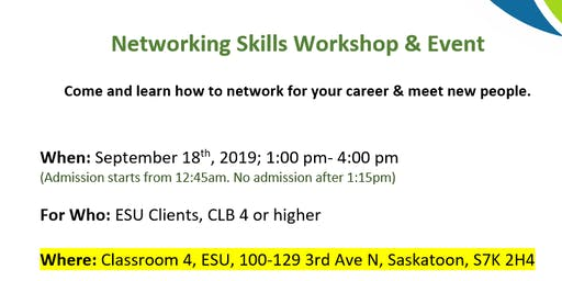 Special Opportunities! Networking Skills Workshop & Event