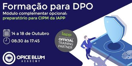 Formação para DPO com Módulo Complementar Opcional - CIPM bilhetes