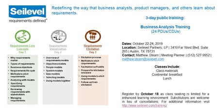3-day Business Analysis Training - October 22-24, 2019 tickets