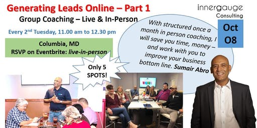 Live (in person) Group Coaching - Leads & Conversions