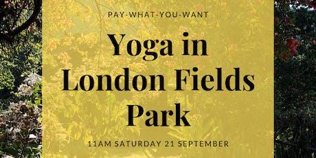 Yoga in London Fields Park tickets