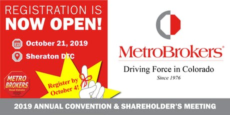 Metro Brokers, Inc.  Annual Convention & Shareholder's Meeting 2019 tickets