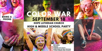Color War High & Middle School. Free Snacks, Music Fun!