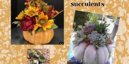 U Paint It - Ceramic Pumpkin with Faux Succulents or Floral