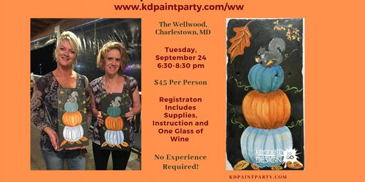 Pumpkin Stack on Slate - Paint and Sip at the Wellwood - 9/24