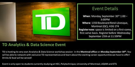 TD Analytics & Data Science Event billets