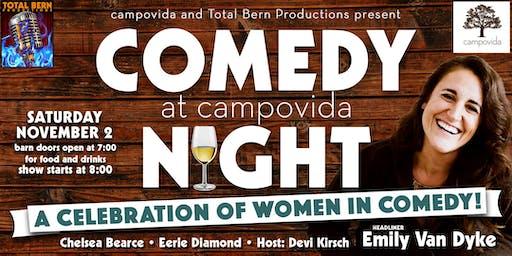 """Campovida and North Coast Comedy Present """"A Celebration of Women in Comedy"""""""