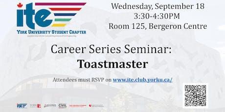 Career Series Seminar: Toastmaster tickets