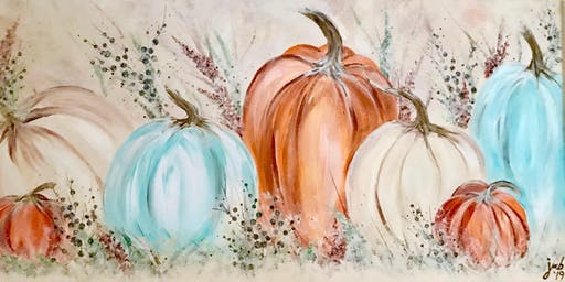 "Autumn Folklore Pumpkins - 12x24"" - Acrylic Painting Class - Spencer"