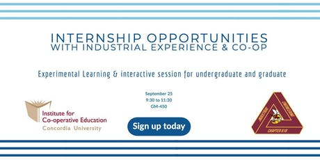 Internship Opportunities with Industrial Experience & Coop tickets