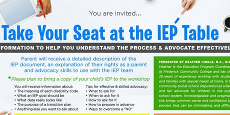 Brown Bag Workshop Series - Taking Your Seat at the IEP Table tickets