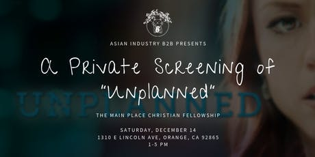 "AIB2B Presents a Private Screening of ""Unplanned"" tickets"
