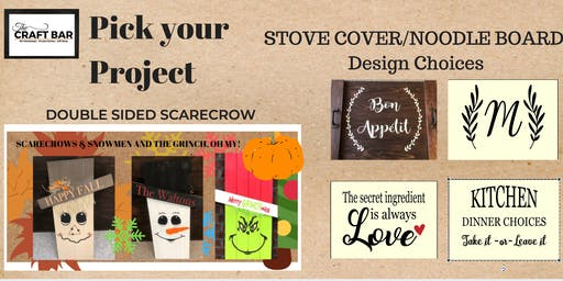 YOUR CHOICE:  NOODLE BOARDS OR DOUBLE SIDED SCARECROWS!