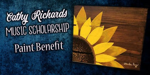 Cathy Richards Music Scholarship Benefit Sunflower on wood