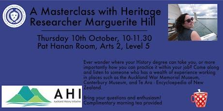 UoA History Society & Auckland History Initiative Masterclass tickets