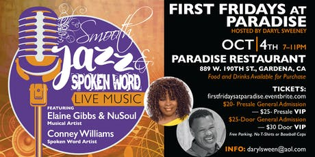 First Fridays at Paradise  -  Smooth Jazz & Spoken Word                                                                                                           tickets
