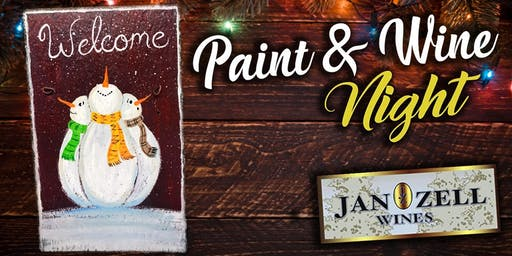 Jan Zell Wines Paint Event Snowman Slate