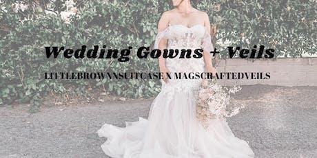 littlebrownnsuitcase  X magscraftedveils : wedding gown + veil blowout sale tickets