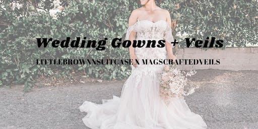 littlebrownnsuitcase  X magscraftedveils : wedding gown + veil blowout sale