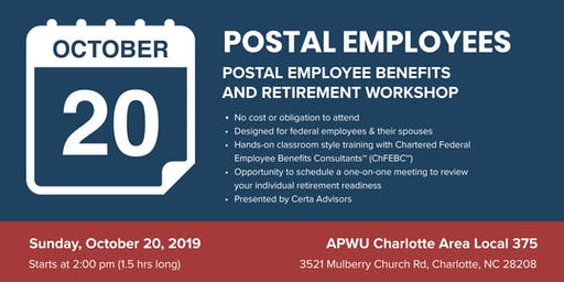 APWU 375 Retirement Workshop in Charlotte, NC