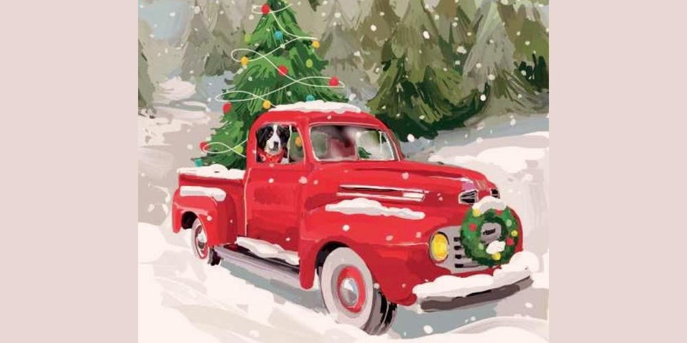 Vintage Red Truck Christmas Decor.Vintage Red Truck Christmas Tree Sip And Paint At Magnanini Winery