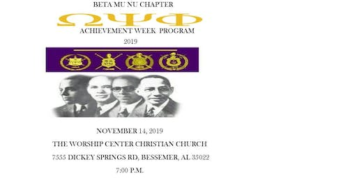 BETA MU NU CHAPTER ACHIEVEMENT WEEK PROGRAM