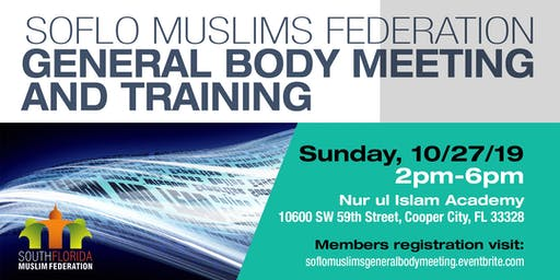 SoFloMuslims General Body Meeting and Training