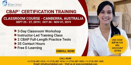 CBAP- (Certified Business Analysis Professional™) Certification Training Classroom Course in Canberra, Australia tickets