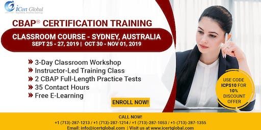CBAP- (Certified Business Analysis Professional™) Certification Training Classroom Course in Sydney, Australia