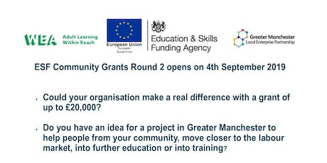 WEA Greater Manchester ESF Community Grants Workshop - Manchester tickets