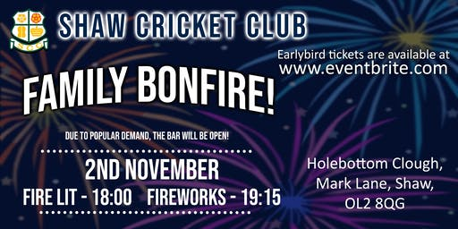 Shaw Cricket Club Bonfire and Firework Display - LICENSED BAR