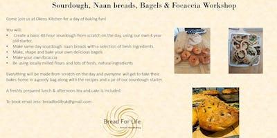 Sourdough bread with Naan, Bagels, & Focaccia