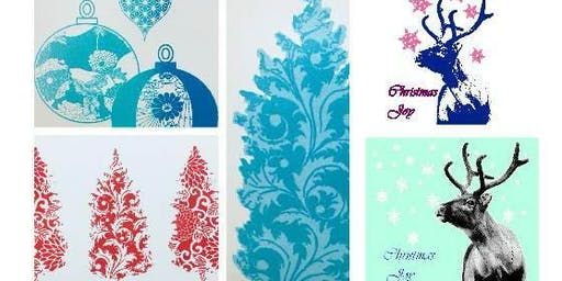 Screen Printing Christmas cards
