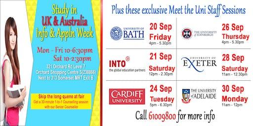 Study in UK & Australia & NZ Unis: Info & Appln Week