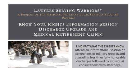 Know Your Rights Info Session & Discharge Upgrade Clinic