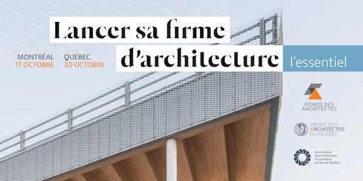 Conférence à Québec | Lancer sa firme d'architecture : l'essentiel