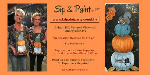 Paint & Sip - Pumpkin Stack on a Re-purposed Roof Slate - 10/23