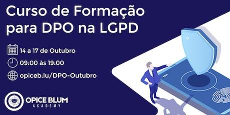 Formação para DPO na LGPD bilhetes