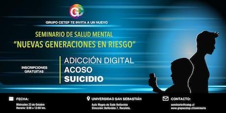 """Seminario: """"Nuevas Generaciones en Riesgo"""" entradas"""