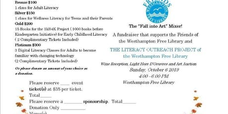 """Friends of the Westhampton Free Library """"Fall Into Art"""" Mixer tickets"""