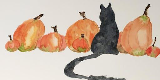 Watercolour Painting Workshop, Cat Among the Pumpkins, Oakville/Burlington Art Class